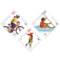 Social welfare stamps - Example of a welfare stamps are these New Zealand postage stamps issued in 2008 to benefit the children's health camp.