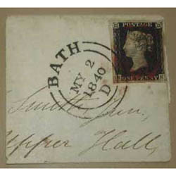 The first adhesive Penny Black stamp - The penny black stamp is affixed to an envelope, package or a postcard. It is signifies that the postal charges have been paid.