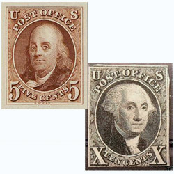 United States stamps in 1847 featured Benjamin Franklin and George Washington