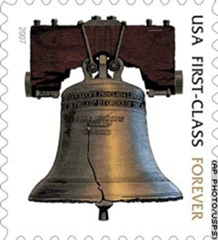 The Liberty Bell stamp was the first forever stamp